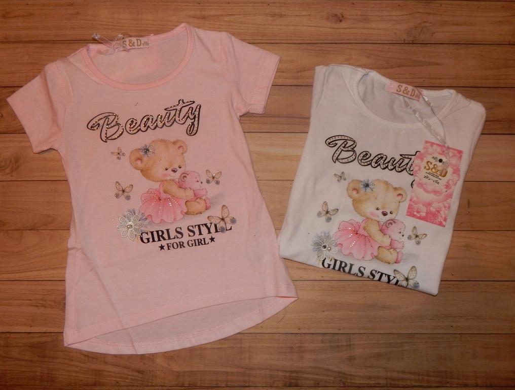 Детские футболки для девочек Beauty. Венгрия.98/128 л