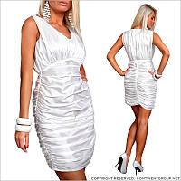 Вечернее белое платье с драпировкой