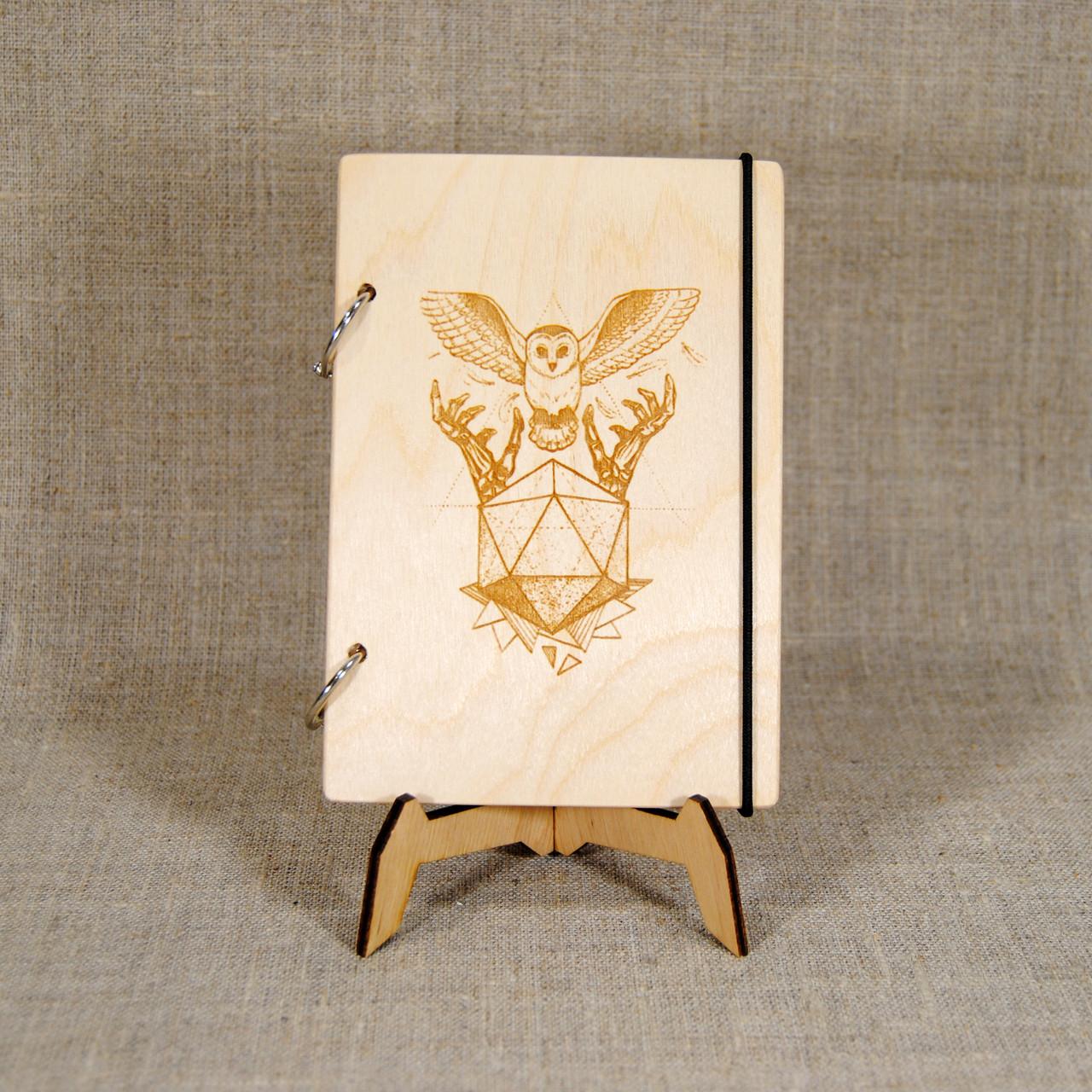 Скетчбук Сова и камень. Блокнот с деревянной обложкой.