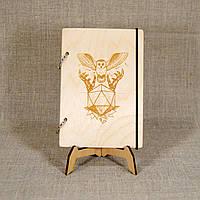 Скетчбук Сова и камень. Блокнот с деревянной обложкой., фото 1