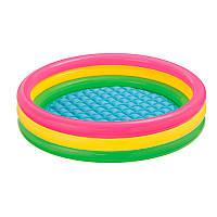 Детский надувной бассейн круглый радуга для детей от 3 лет, 3 кольца, 147 х 33 см, 299 л, intex 57422