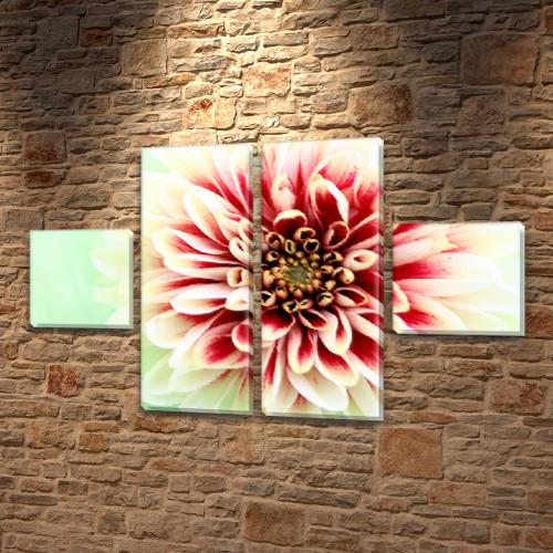 Пушистый Цветок, модульная картина (Цветы) на Холсте син., 45x80 см, (18x18-2/45х18-2)