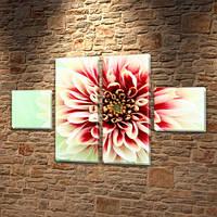 Пушистый Цветок, модульная картина (Цветы) на Холсте син., 45x80 см, (18x18-2/45х18-2), фото 1