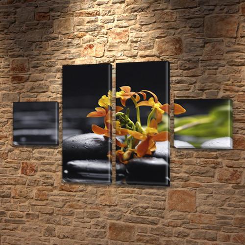 Цветы и черные камни, модульная картина на Холсте син., 45x80 см, (18x18-2/45х18-2)