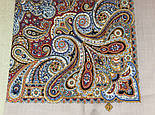 Горожанка 1836-2, павлопосадский платок шерстяной  с шелковой бахромой, фото 7