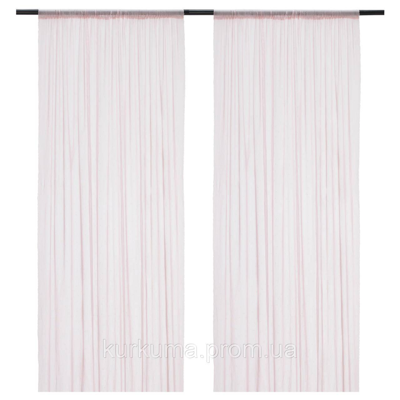 IKEA HILDRUN Тюль, 1 пара, розовый, пунктирная  (503.916.52)
