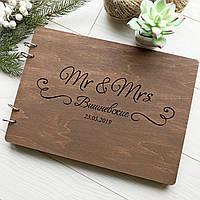 Стильный деревянный свадебный альбом для фото и пожеланий