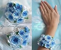 """""""Голубые кучерявые розочки"""" браслет с цветами из полимерной глины."""