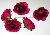 Головка розы 4,5 см бордово-малиновая