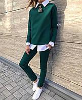 Костюм женский брючный, повседневный, офисный, ткань двунитка с имитацией рубашки+узкие брюки, фото 1
