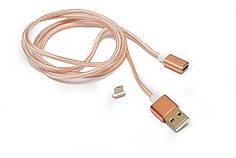 Магнитный кабель для Android Magnetic micro USB в тканевой оплетке Rose Gold