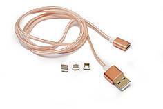Магнитный кабель Magnetic с переходниками в тканевой оплетке Rose Gold