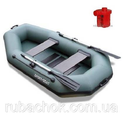 Лодка надувная Sport-Boat L 220LS + Насос электрический Турбинка 12V АС 401