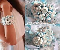 """""""Бело-голубой жасмин"""" браслет с цветами для невесты или дружки."""