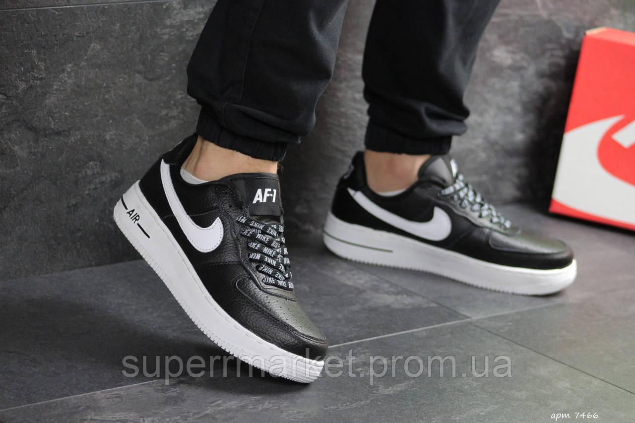 Кроссовки в стиле  Air Force AF 1 черные с белым, код7466
