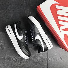 Кроссовки в стиле  Air Force AF 1 черные с белым, код7466, фото 2