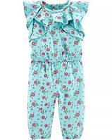 Летний комбинезон ромпер для девочки 18M рост 76-81 см с цветочным принтом Carters Картерс с рюшами голубой
