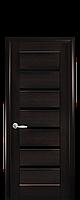 Дверное полотно Линнея Венге New с черным стеклом