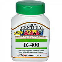 Витамин Е-400, 110 капсул, 21st Century, США