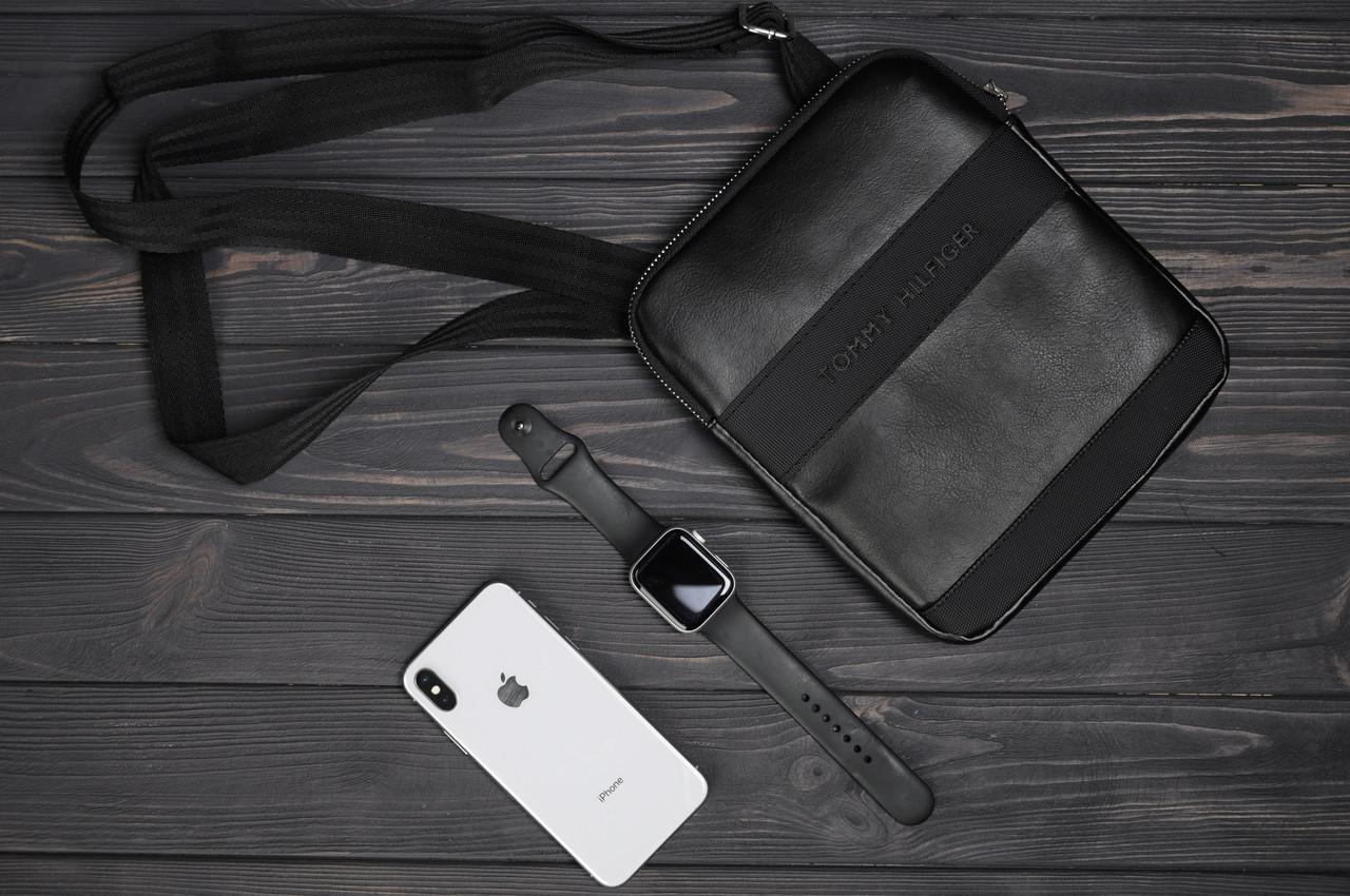 Сумка на плечо, мессенджер, барсетка мужская Томми Хилфинджер кожа, цвет черный, фото 1