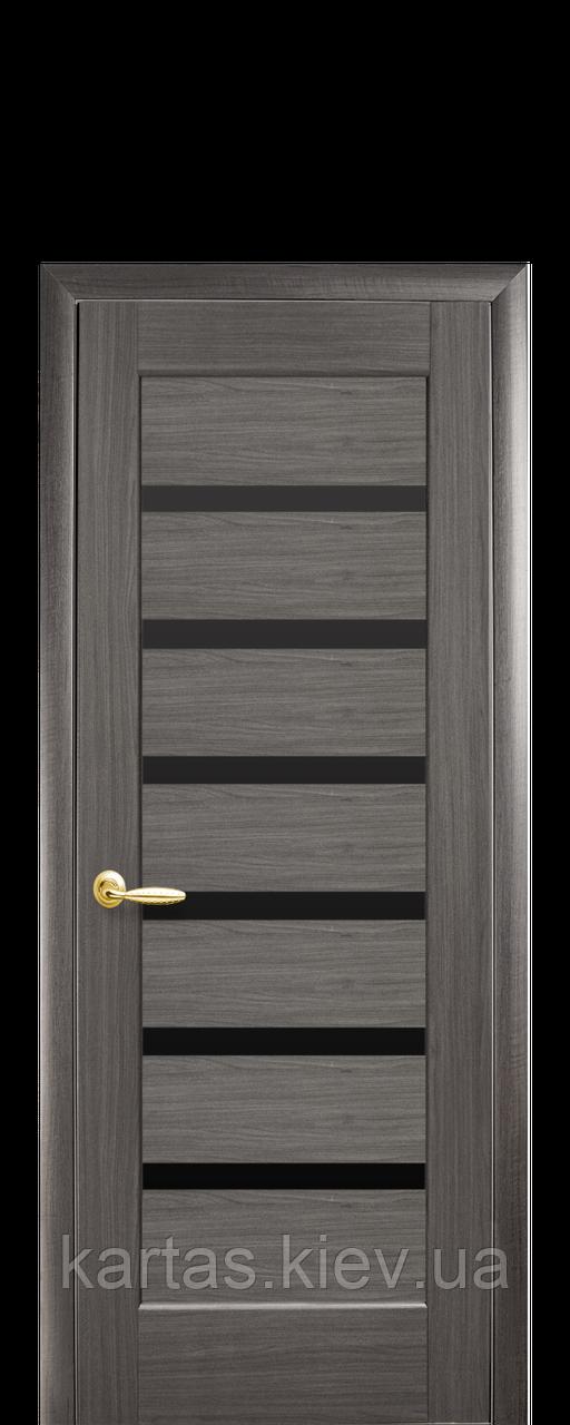 Дверное полотно Линнея Серый с черным стеклом