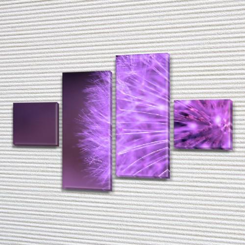 Фиолетовый Одуванчик, модульная картина (Цветы), на Холсте син., 50x80 см, (18x18-2/45х18-2)