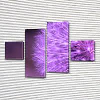 Фиолетовый Одуванчик, модульная картина (Цветы), на Холсте син., 50x80 см, (18x18-2/45х18-2), фото 1