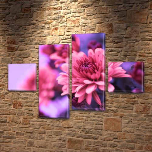 Бордовая Хризантема, модульная картина (Цветы) на Холсте син., 50x80 см, (18x18-2/45х18-2)