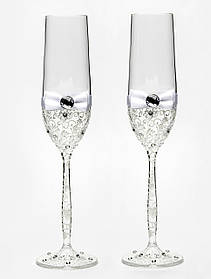 "Свадебные бокалы ручной работы ""Glass White"" белые"
