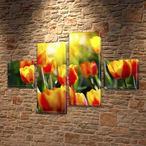 Тюльпаны в солнечных лучах, модульная картина (Цветы), на Холсте син., 50x80 см, (18x18-2/45х18-2)