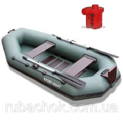 Лодка надувная Sport-Boat L 300LST + Насос электрический Турбинка 12V АС 401