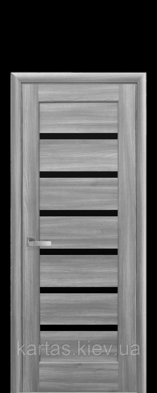Дверное полотно Линнея Бук Пепельный с черным стеклом
