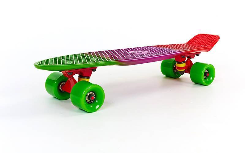 Скейтборд пластиковый Penny FISH COLOR 22in полосатая дека (зеленый-фиолетовый-красный)