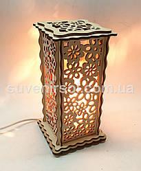 Соляной светильник Деревянный Узор Б8