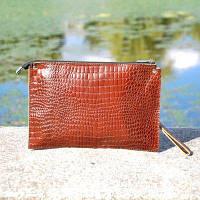 Клатч женский кожаный конверт Belali Crocodile коричневый, фото 1