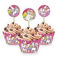 """Топперы для капкейков, десертов и кексов """"Единорог"""", 6 шт./уп."""