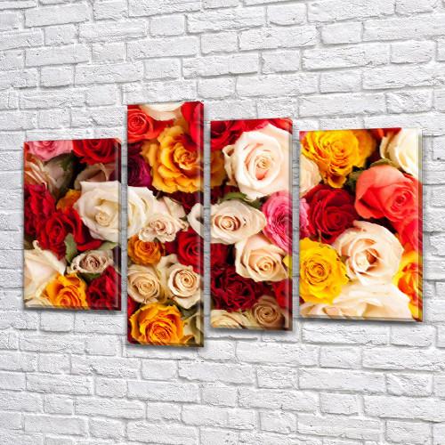 Разноцветные Розы, модульная картина (Цветы) на Холсте син., 65x85 см, (40x20-2/65х18/50x18)