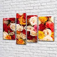 Разноцветные Розы, модульная картина (Цветы) на Холсте син., 65x85 см, (40x20-2/65х18/50x18), фото 1