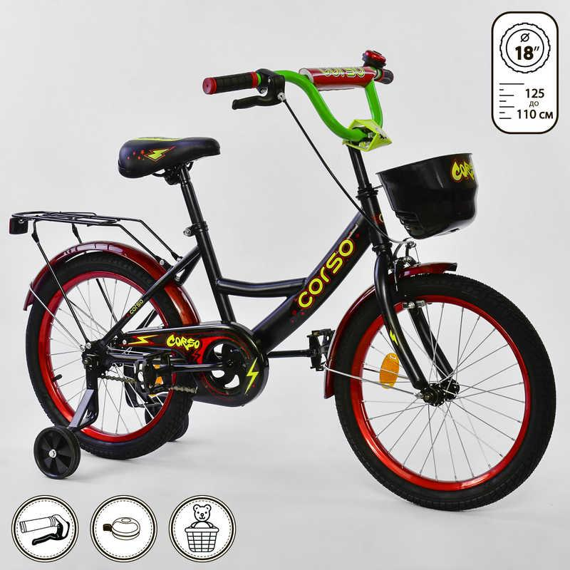 Велосипед 2-х колёсный CORSO 18 дюймов, Черный+Красный (G-18050)