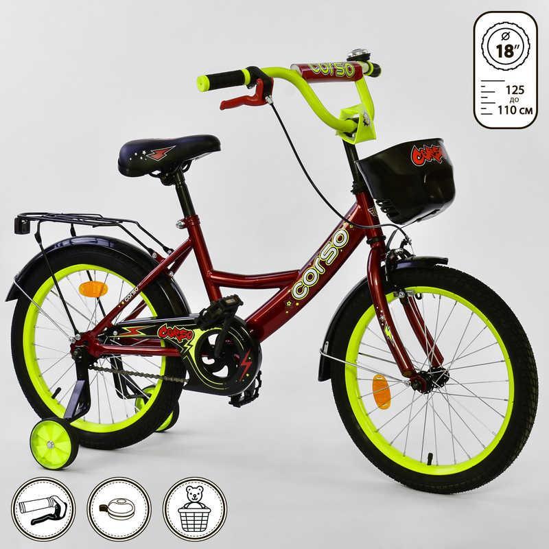 Велосипед 2-х колёсный CORSO 18 дюймов, Бордовый (G-18670)