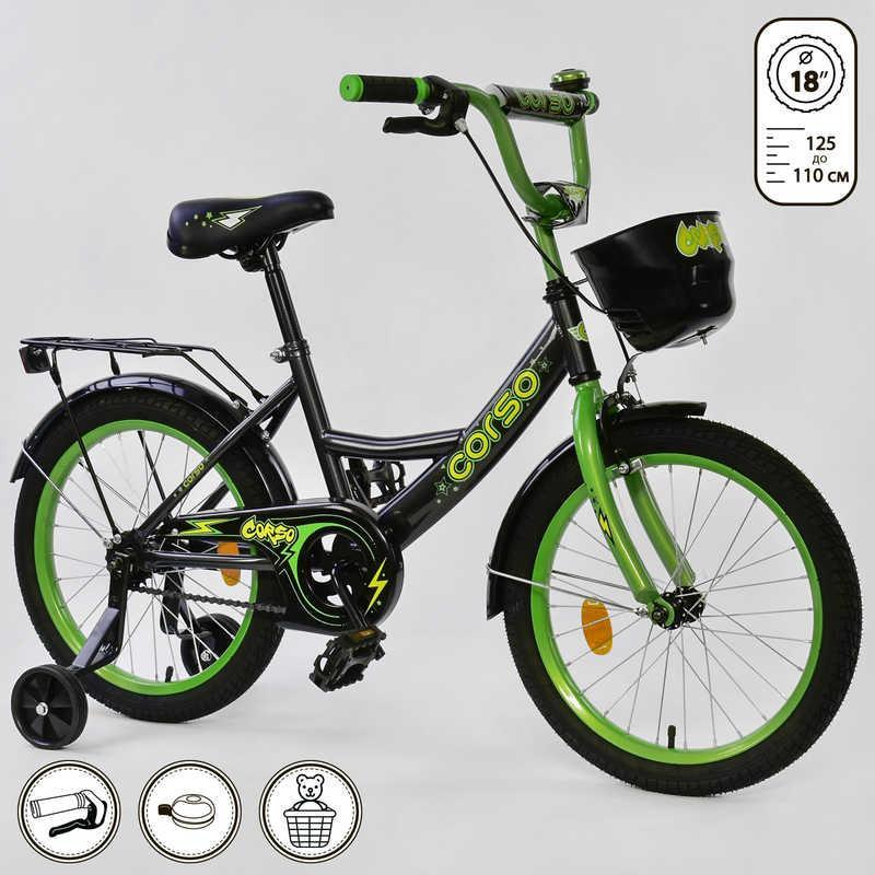 Велосипед 2-х колёсный CORSO 18 дюймов, Черный+Зеленый (G-18907)