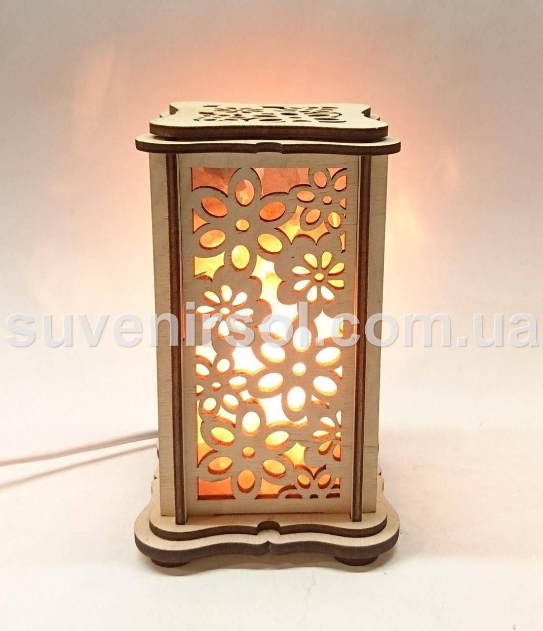 Соляной светильник деревянный прямоугольник маленький Узор 3