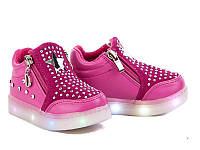 Слипоны детские демисезонные для девочки, размер 25 (стелька 15 см), со светящейся подошвой.