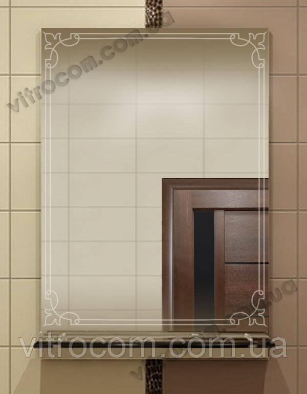 Зеркало zk-19 с контурным рисунком и полкой 70х50 см
