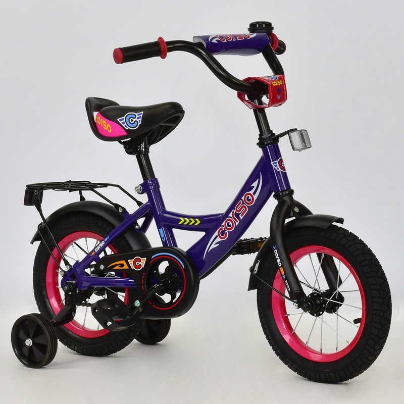 Велосипед 2-х колёсный CORSO, 12 дюймов, Сиреневый (С12080)