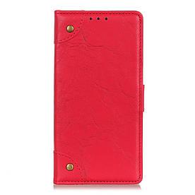 Чехол книжка для Samsung Galaxy M10 M105FD боковой с отсеком для визиток, Retro Style, красный