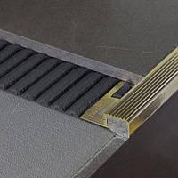 Латунный угловой профиль для защиты ступеней h=10 мм