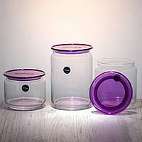 Набор банок для сыпучих продуктов « Plano N3453 »  с фиолетовыми крышками Luminarc.