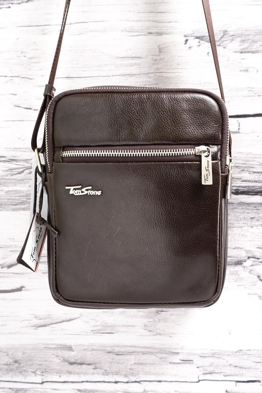 Мужская сумка из натуральной кожи Tom Stone 801 коричневая