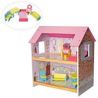 Домик деревянный для куклы с мебелью 1052